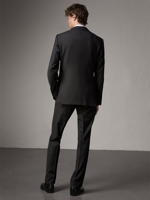 Modern Fit Travel Tailoring Virgin Wool Suit in Dark Grey Melange - Men | Burberry - cell image 2