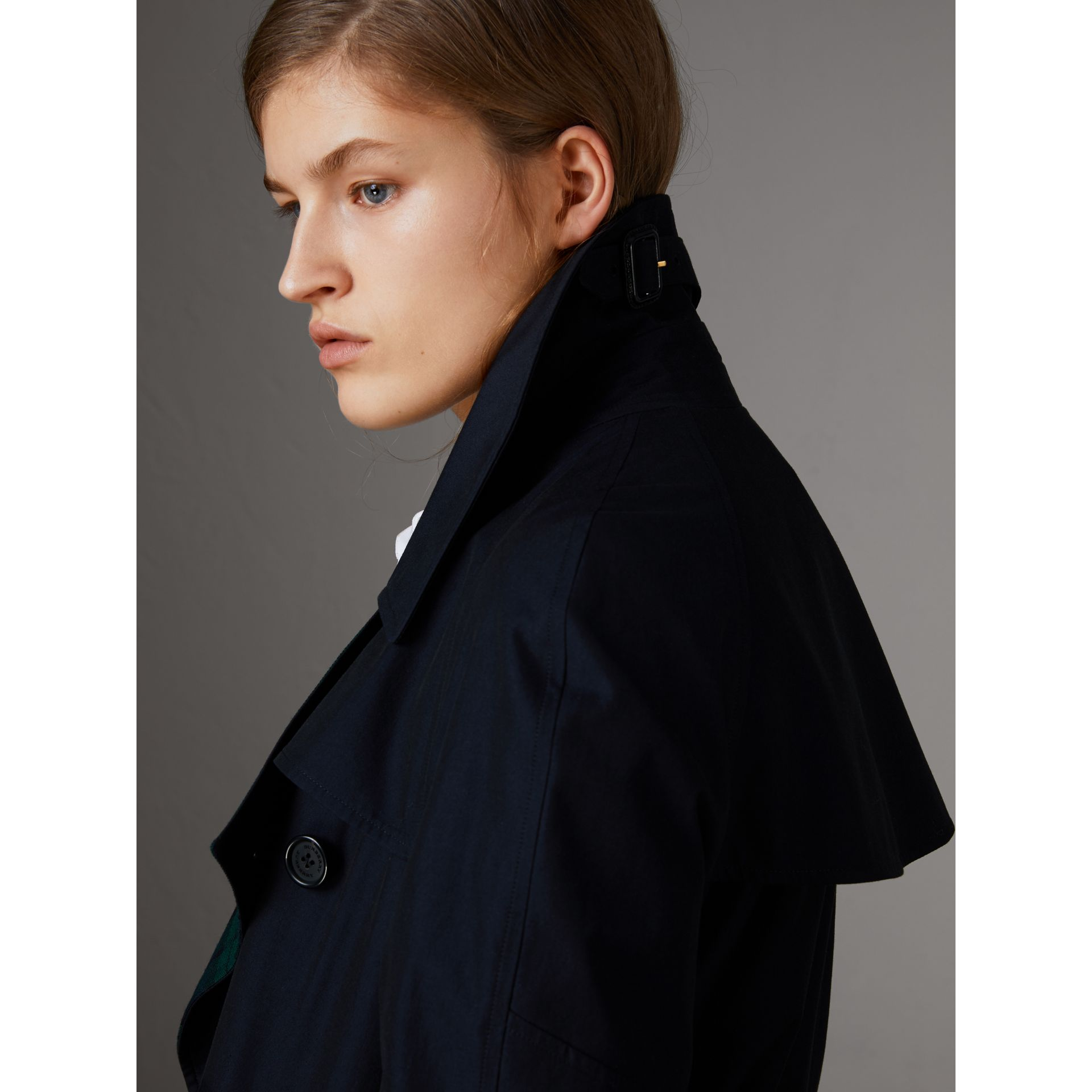 Tropical Gabardine Asymmetric Trench Coat in Blue Carbon - Women | Burberry Australia - gallery image 5