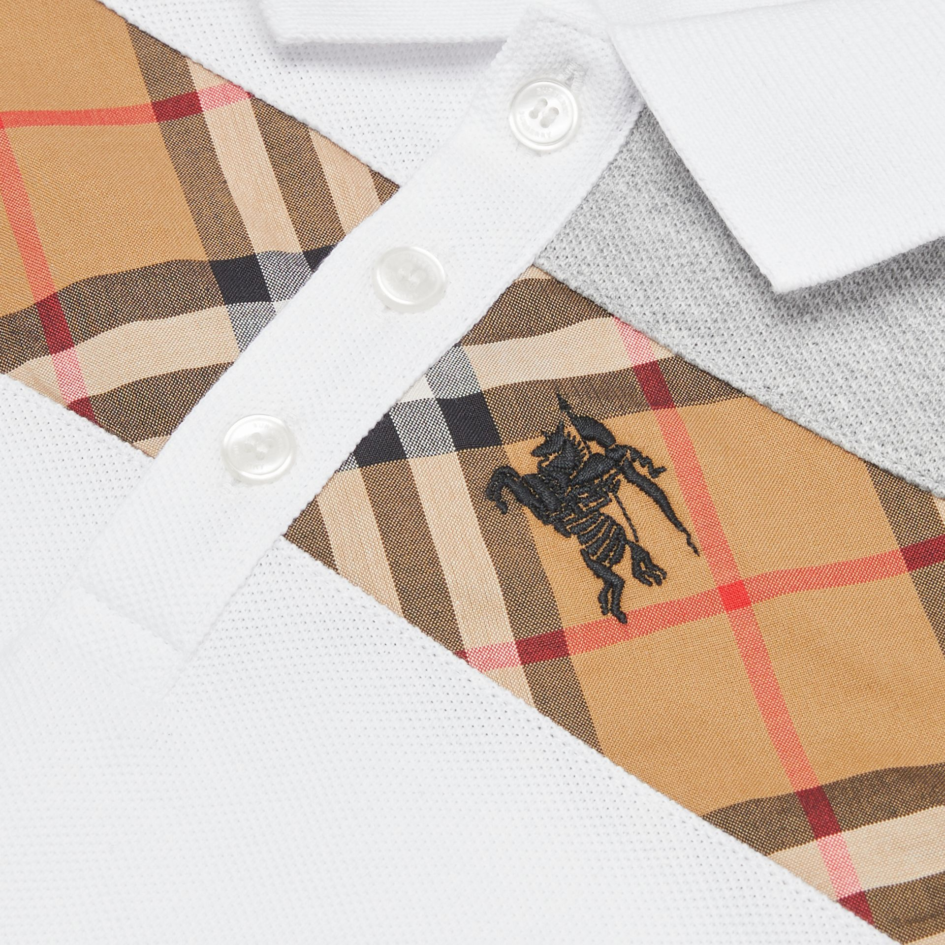 Vintage Check Panel Cotton Polo Shirt in White - Children | Burberry Canada - gallery image 1