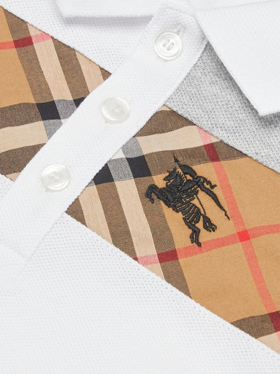 Vintage Check Panel Cotton Polo Shirt in White - Children | Burberry - cell image 1