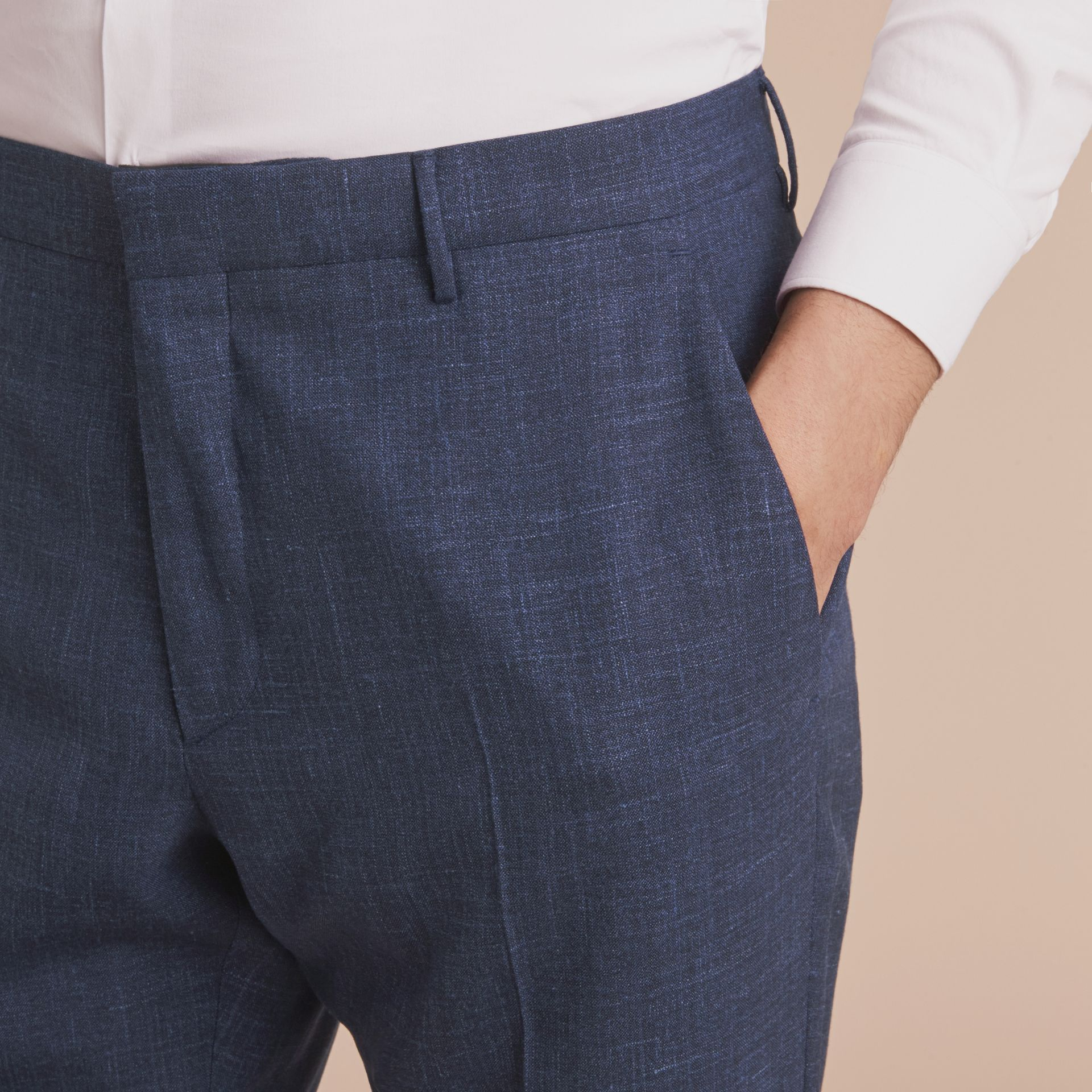Modern Fit Wool Silk Blend Trousers - Men | Burberry - gallery image 5