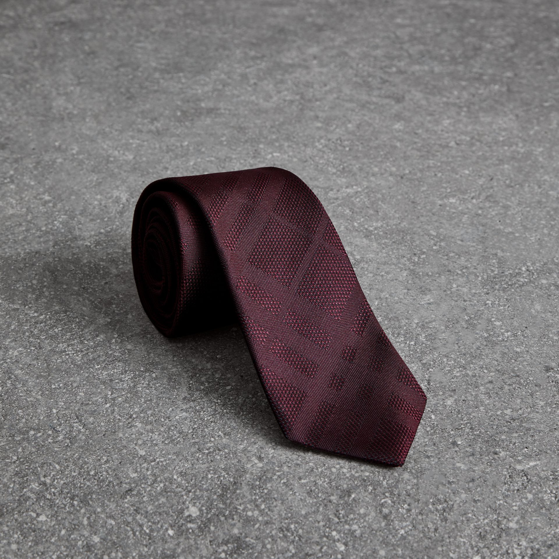 Modern Cut Check Silk Tie in Deep Claret - Men | Burberry - gallery image 0