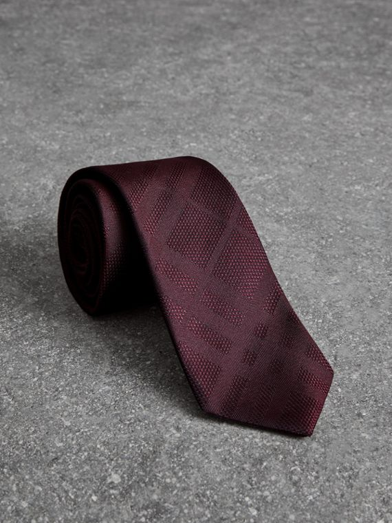 Modern Cut Check Silk Tie in Deep Claret