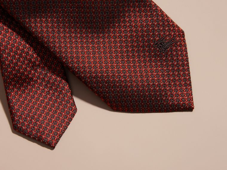 Parade red Modern Cut Patterned Silk Tie Parade Red - cell image 1