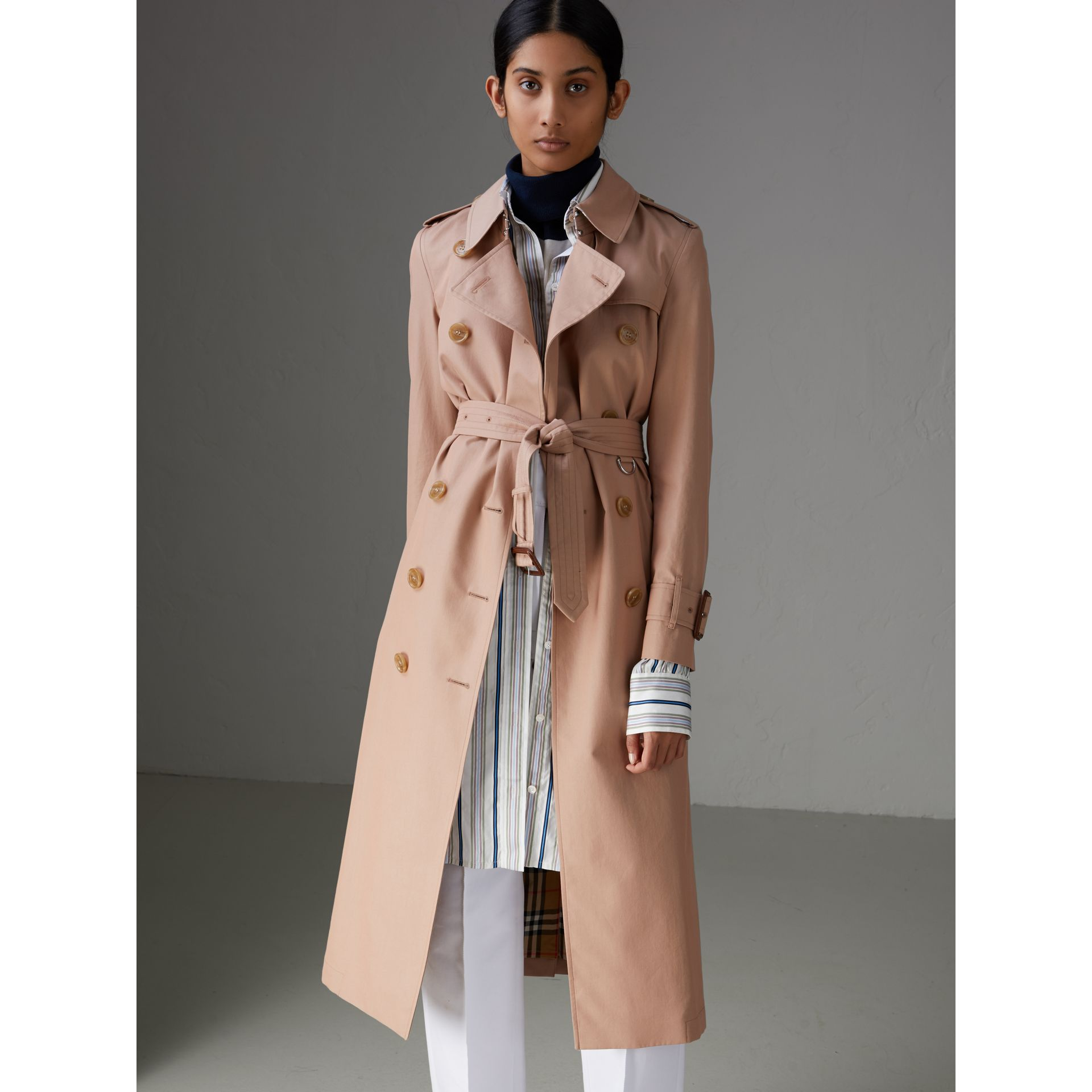 Tropical Gabardine Trench Coat in Pink Apricot - Women | Burberry Australia - gallery image 5