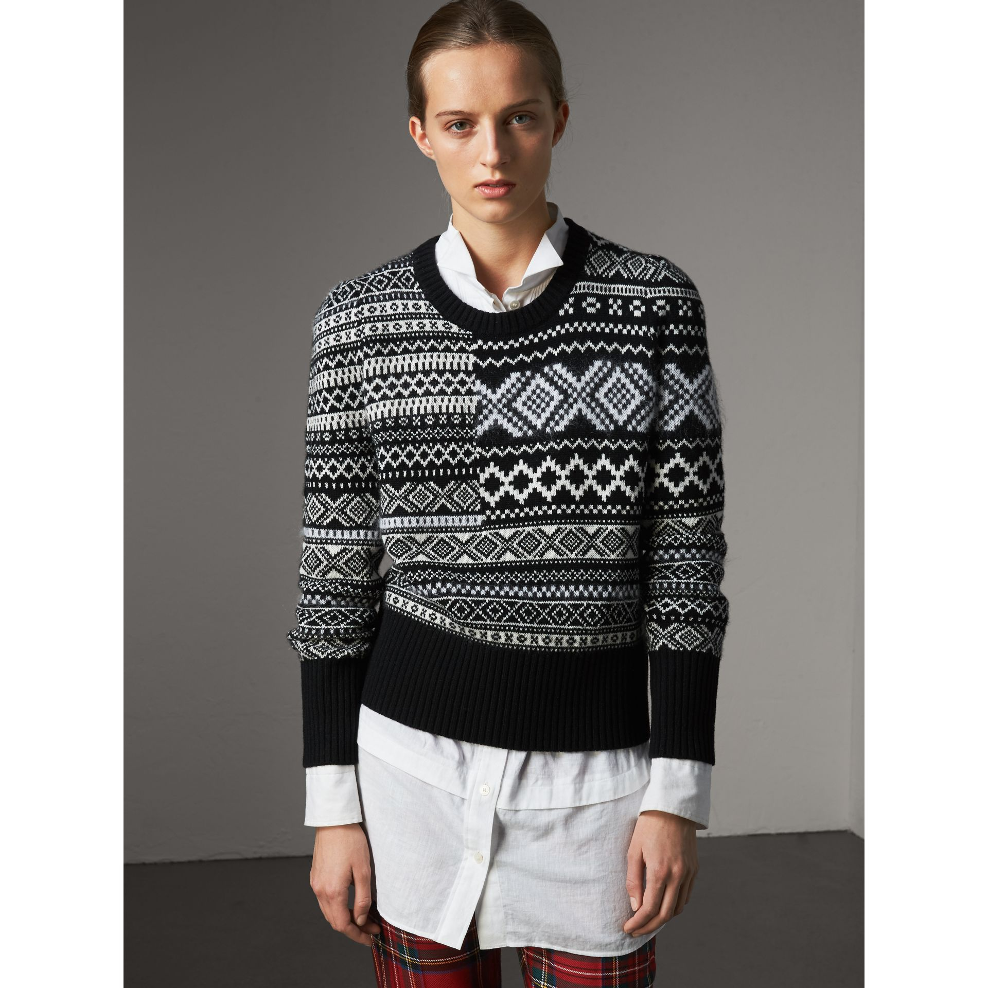 Fair Isle Cashmere Mohair Blend Patchwork Sweater in Black - Women | Burberry Australia - gallery image 5