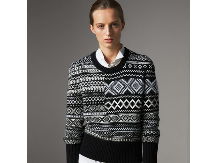 Fair Isle Cashmere Mohair Blend Patchwork Sweater in Black - Women | Burberry Australia - cell image 4