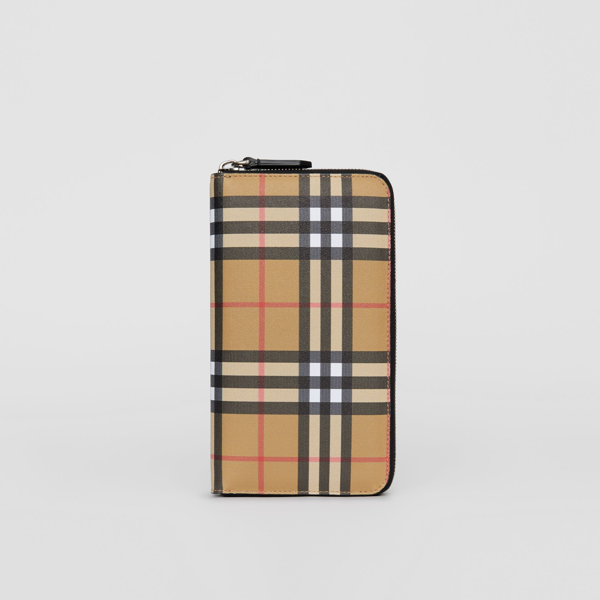 Vintage Check and Leather Ziparound Wallet in Antique Yellow/black - Men | Burberry Australia - gallery image 2