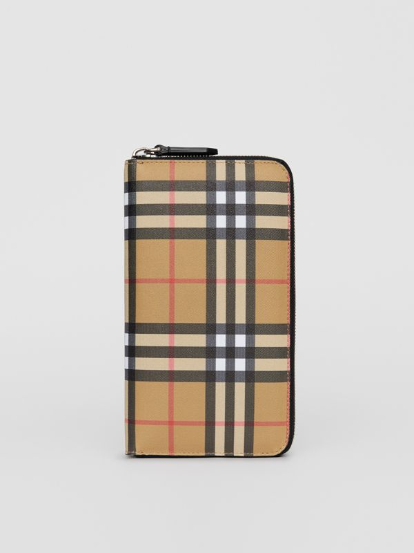Vintage Check and Leather Ziparound Wallet in Antique Yellow/black - Men | Burberry Canada - cell image 2