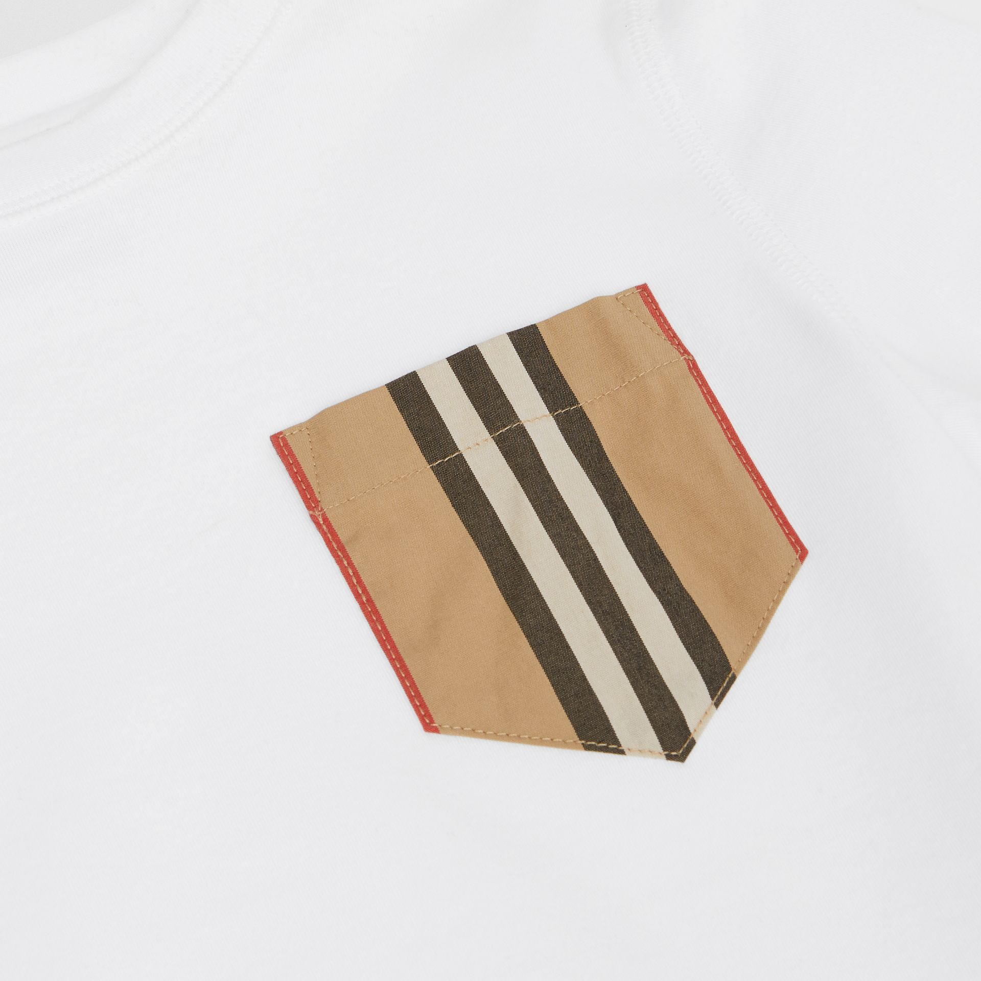 Icon Stripe Pocket Cotton T-shirt in White/archive Beige | Burberry - gallery image 1