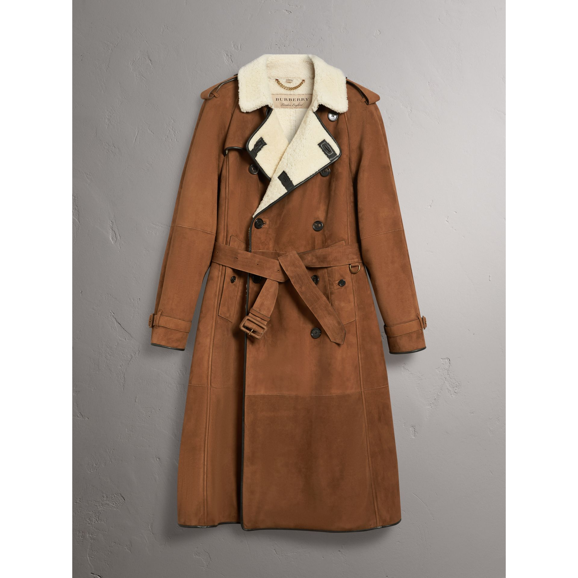 Suede and Shearling Trench Coat in Tan - Men | Burberry - gallery image 3