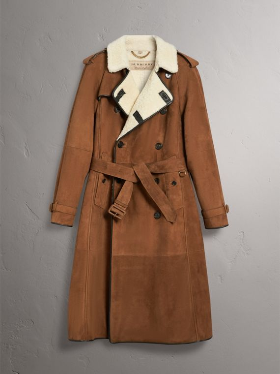 Suede and Shearling Trench Coat in Tan - Men | Burberry - cell image 3