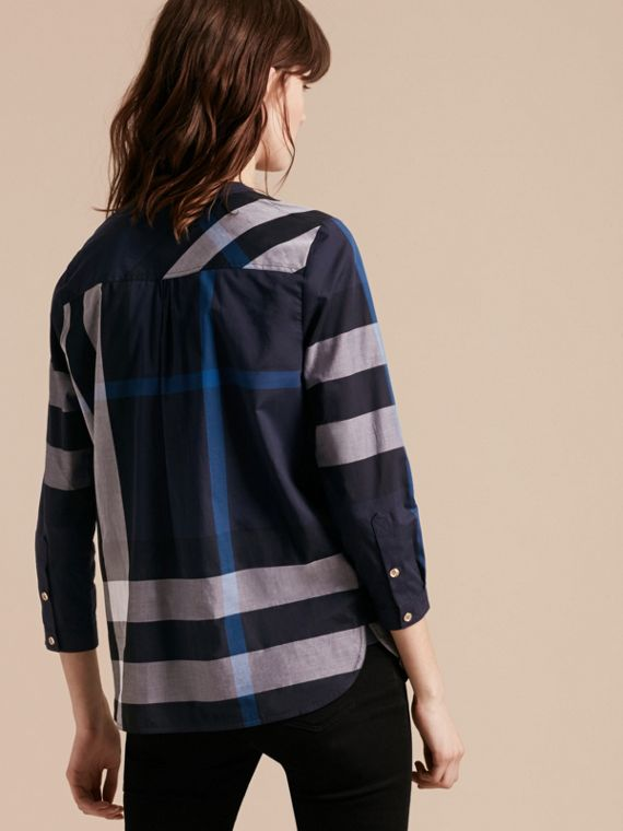Check Cotton Tunic Shirt Navy - cell image 2