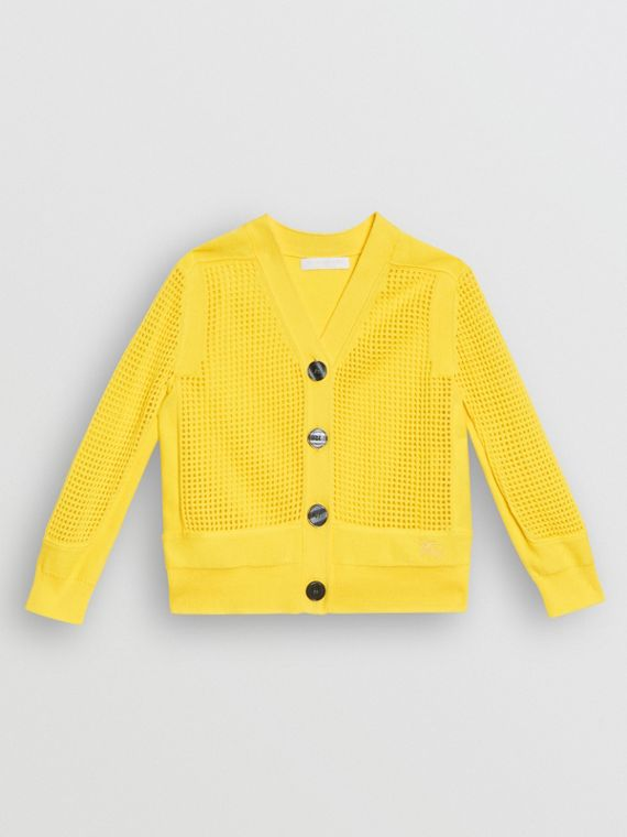 Open Knit Cotton V-neck Cardigan in Citrus Yellow