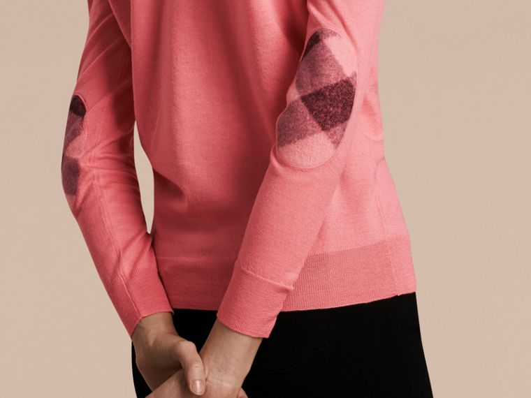 Check Detail Merino Wool Cardigan in Pale Rose Pink - cell image 4