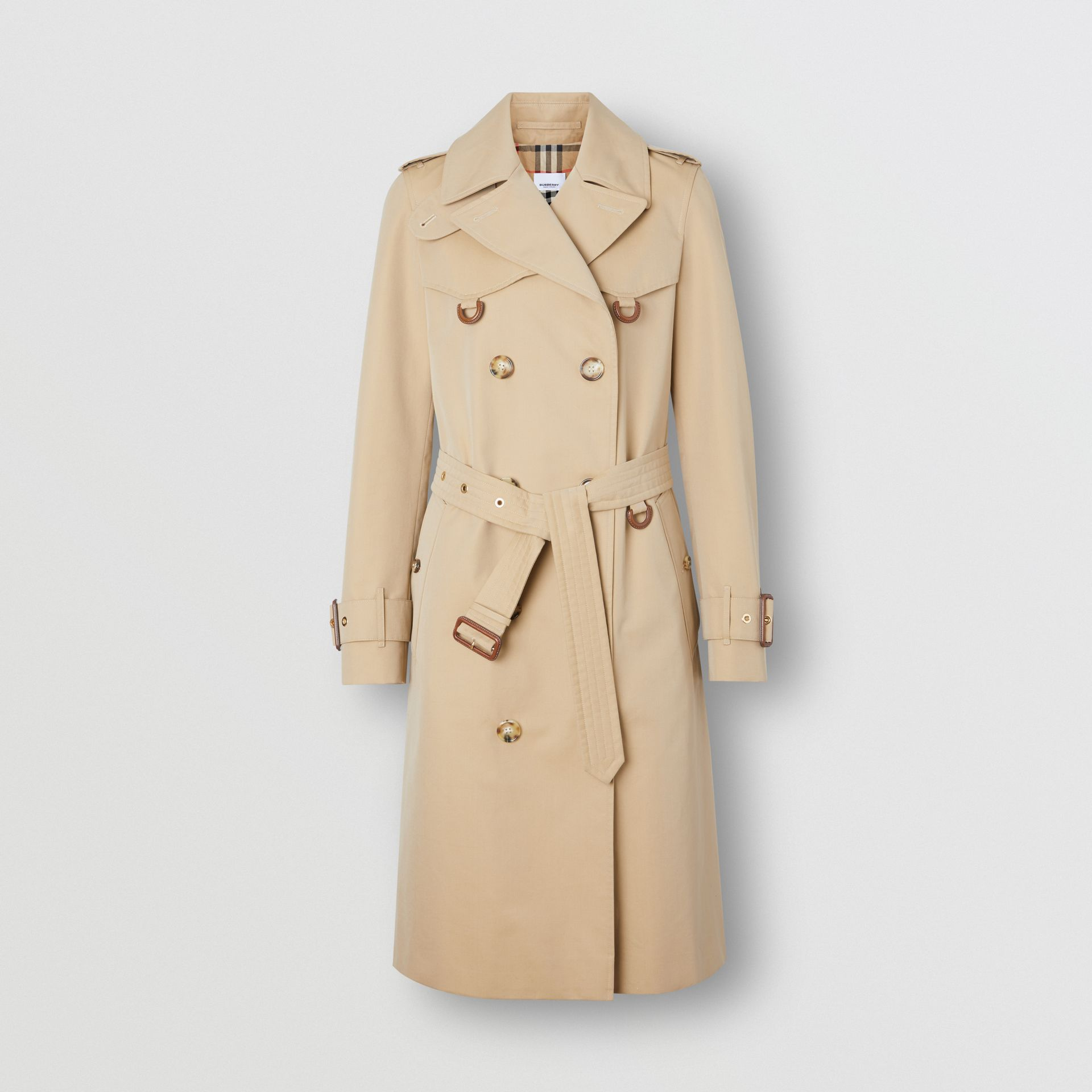 Leather D-ring Detail Cotton Gabardine Trench Coat in Honey - Women | Burberry - gallery image 3