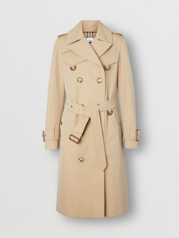 Leather D-ring Detail Cotton Gabardine Trench Coat in Honey - Women | Burberry - cell image 3