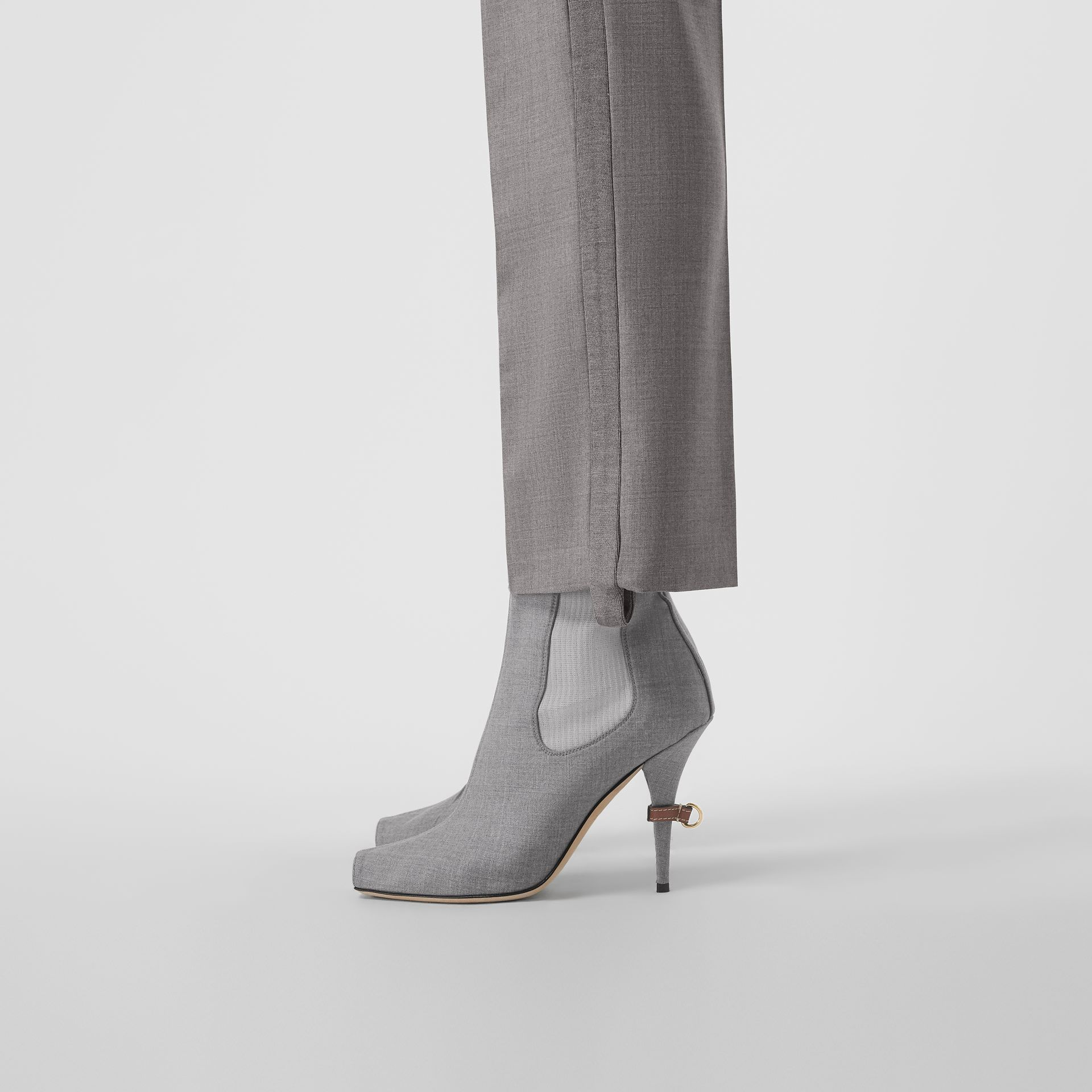 Stretch Wool Blend Peep-toe Boots in Flint - Women | Burberry Singapore - gallery image 2