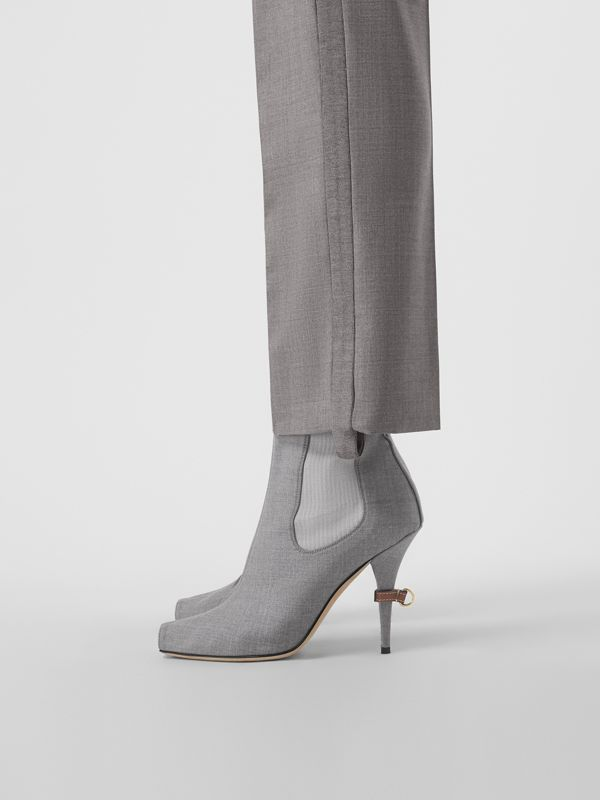Stretch Wool Blend Peep-toe Boots in Flint - Women | Burberry Singapore - cell image 2
