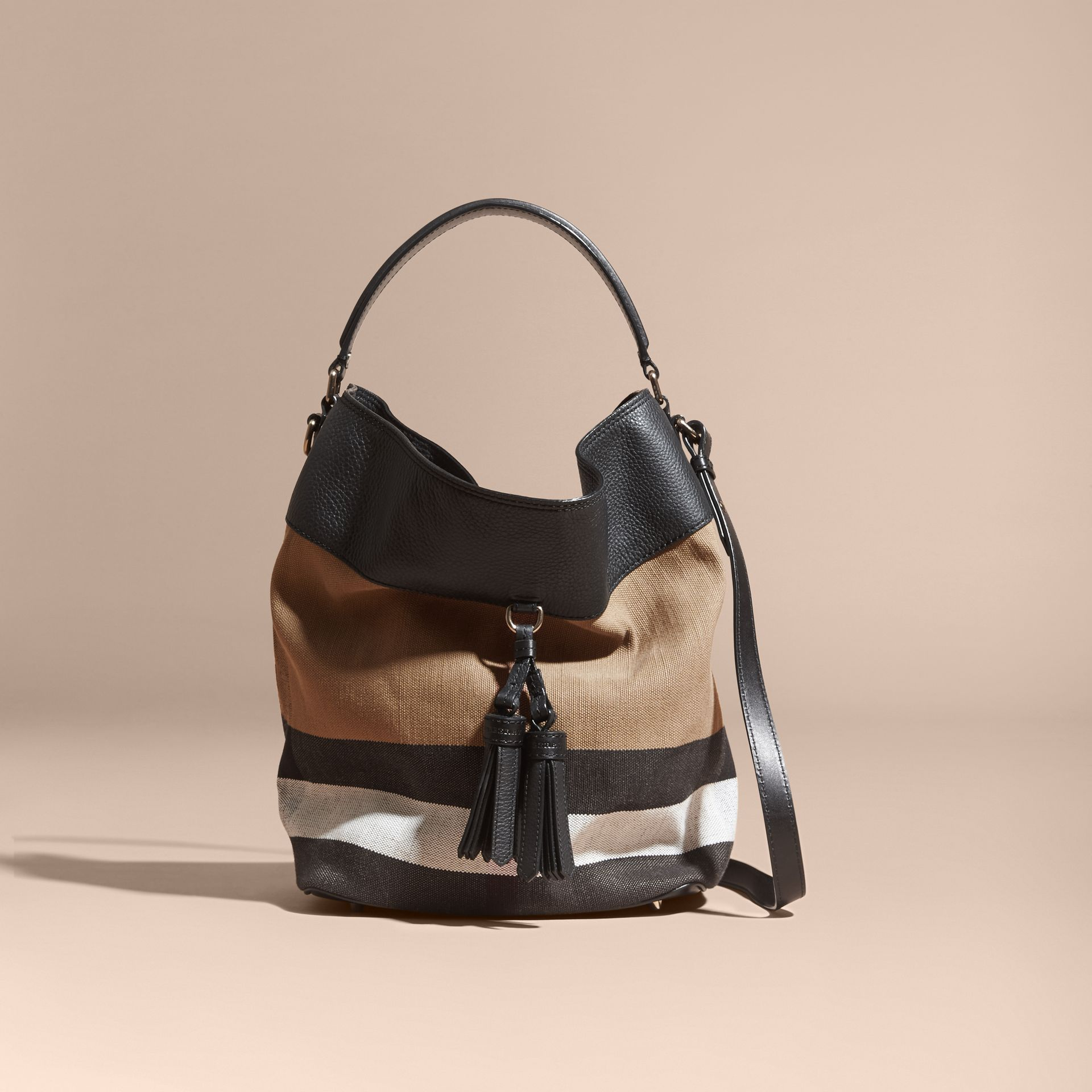 The Ashby media con pelle e motivo Canvas check (Nero/nero) - Donna | Burberry - immagine della galleria 9