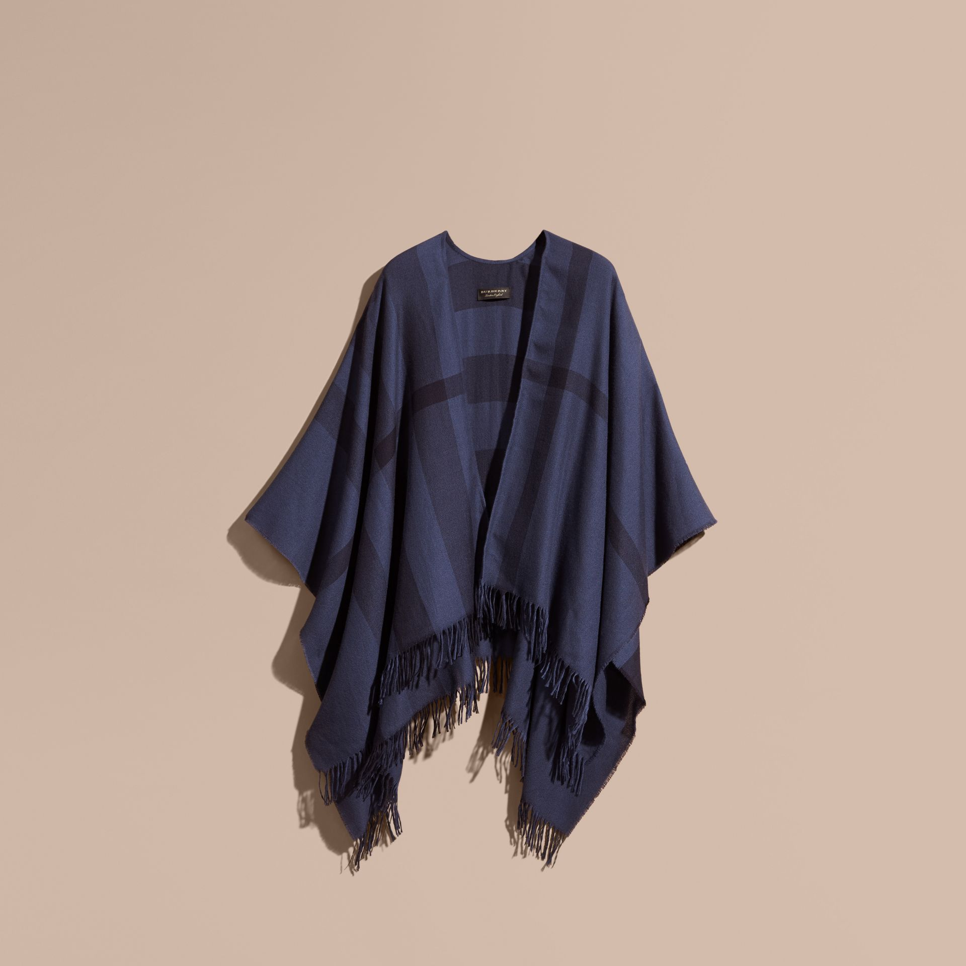 Navy Lightweight Check Cashmere Poncho Navy - gallery image 4