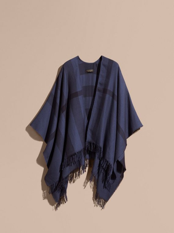 Navy Lightweight Check Cashmere Poncho Navy - cell image 3