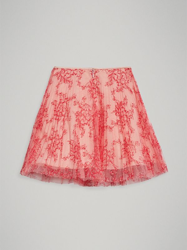 Pleated Lace Skirt in Pale Apricot/coral | Burberry - cell image 3