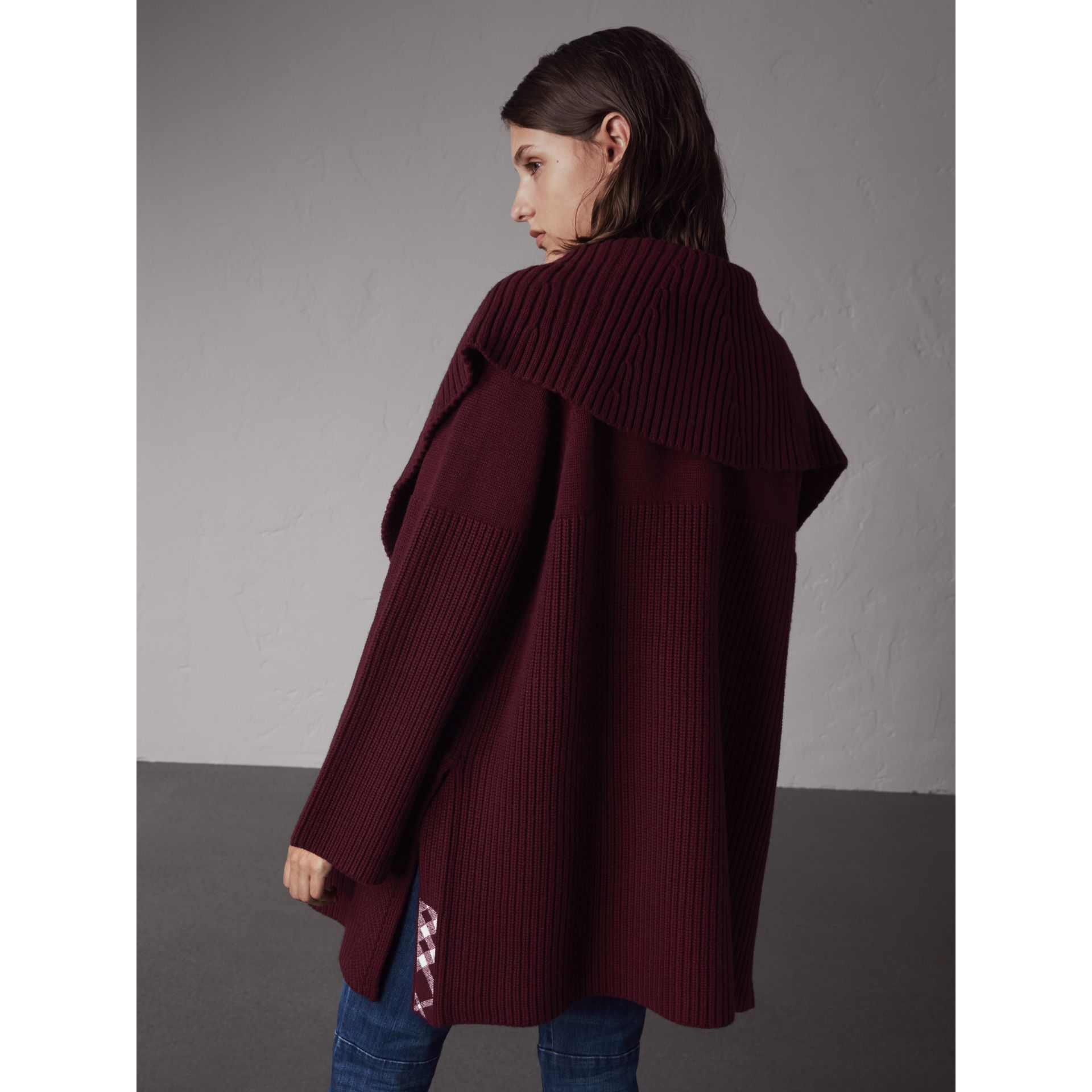 Ribbed Wool Cashmere Cardigan Coat in Burgundy - Women | Burberry - gallery image 3