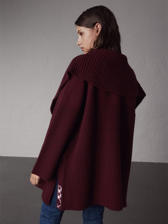 Ribbed Wool Cashmere Cardigan Coat in Burgundy - Women | Burberry Hong Kong - cell image 2