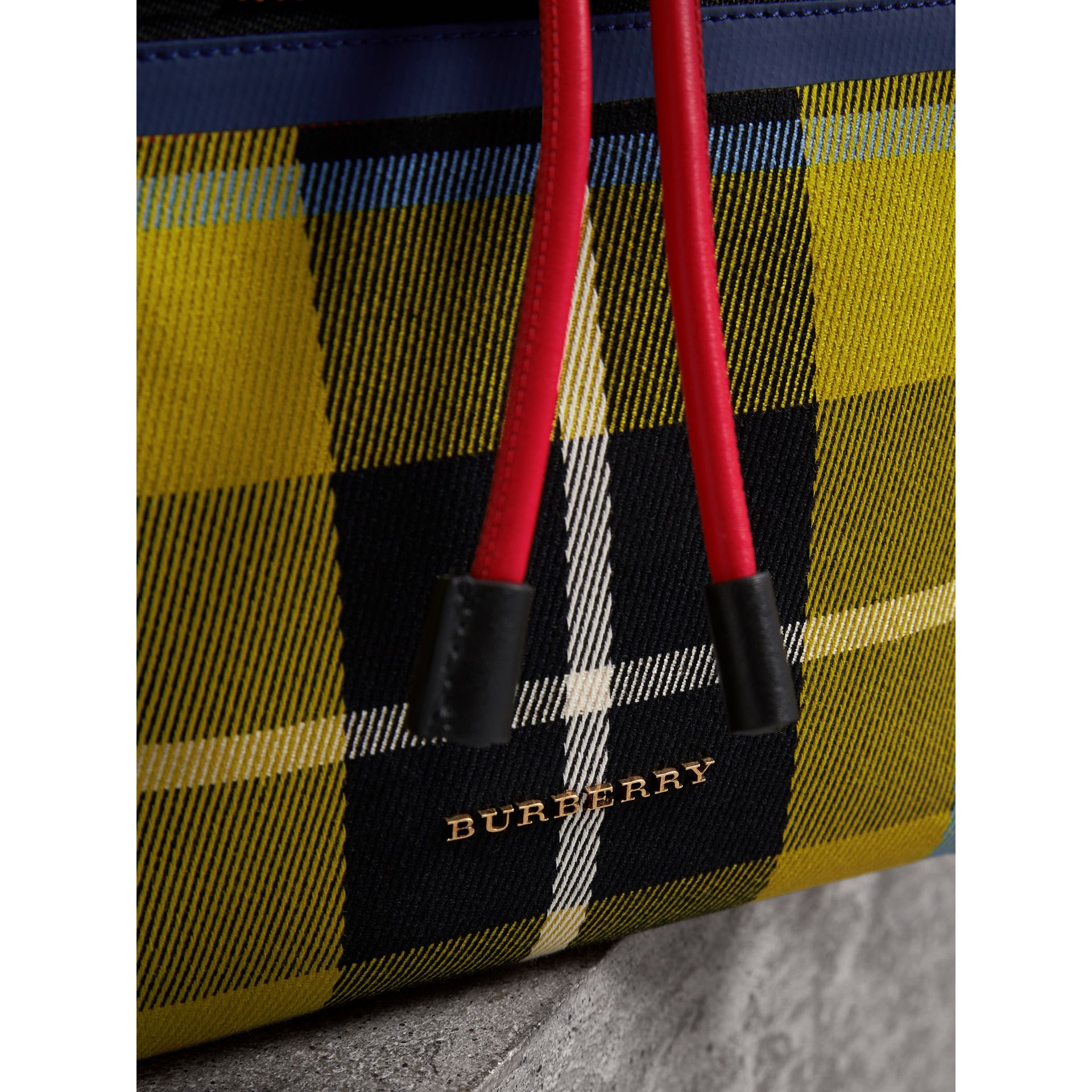 The Medium Rucksack in Tartan and Vintage Check in Flax Yellow - Women | Burberry Australia - gallery image 1