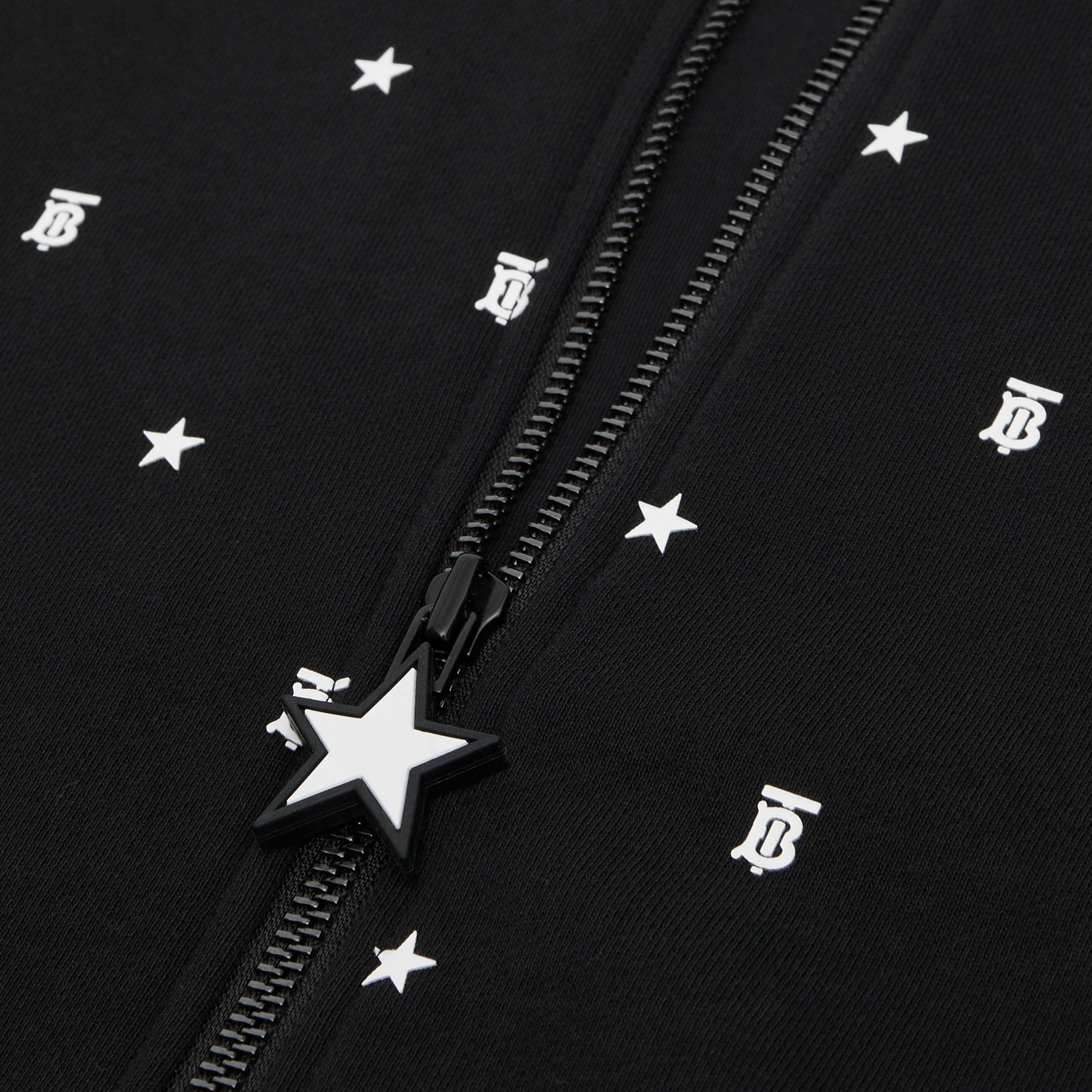 Star and Monogram Motif Cotton Hooded Top in Black | Burberry - 2