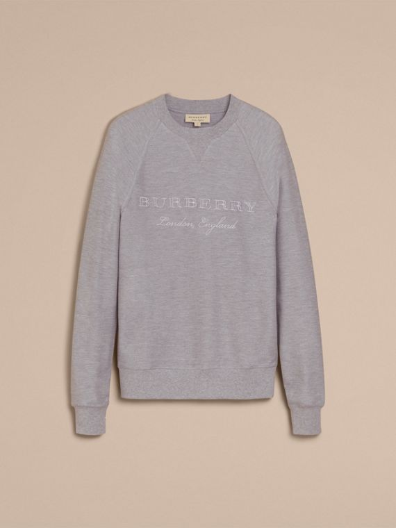 Embroidered Motif Cotton-blend Jersey Sweatshirt in Mid Grey Melange - Men | Burberry - cell image 3