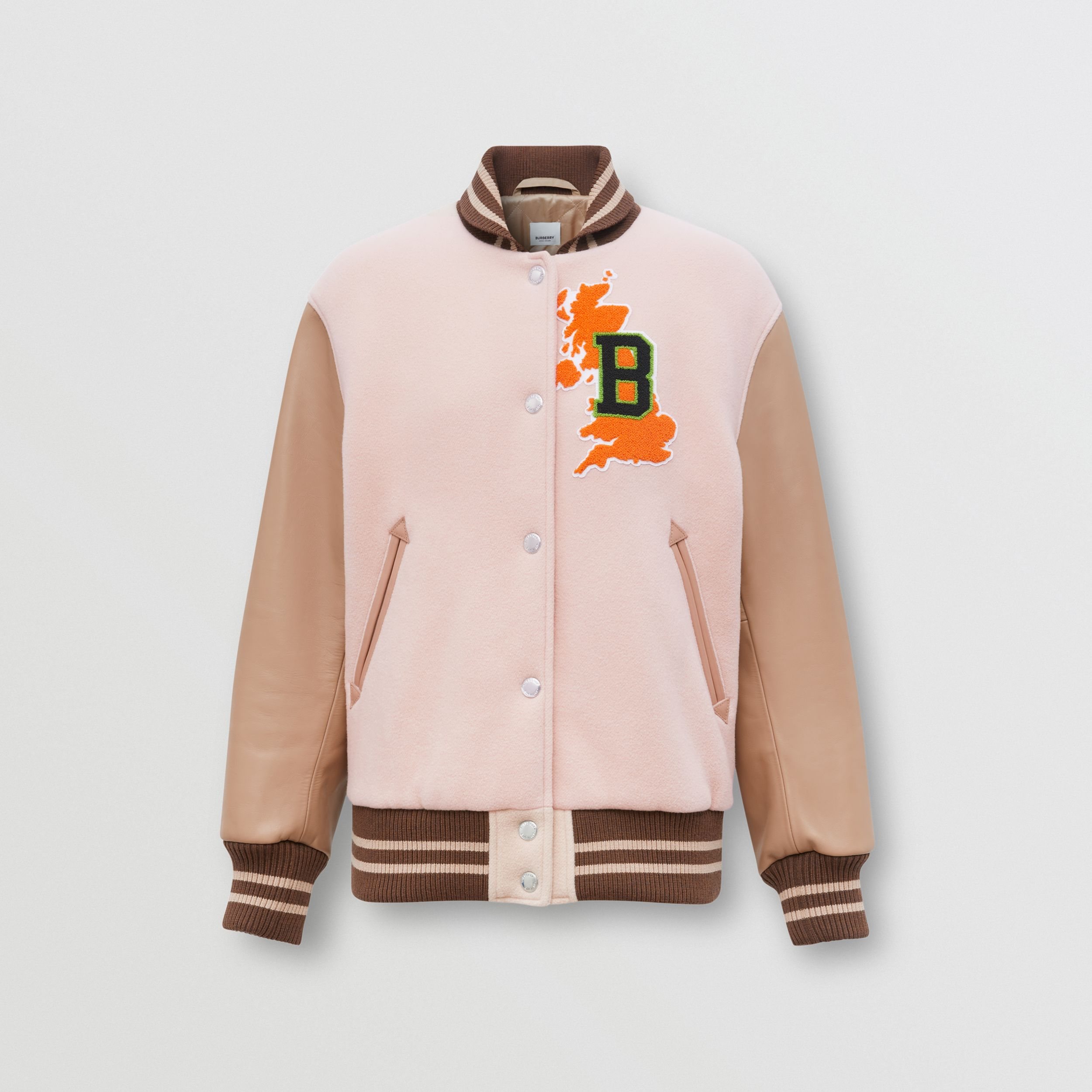 Varsity Graphic Wool and Leather Bomber Jacket in Rose Pink - Women | Burberry Australia - 4
