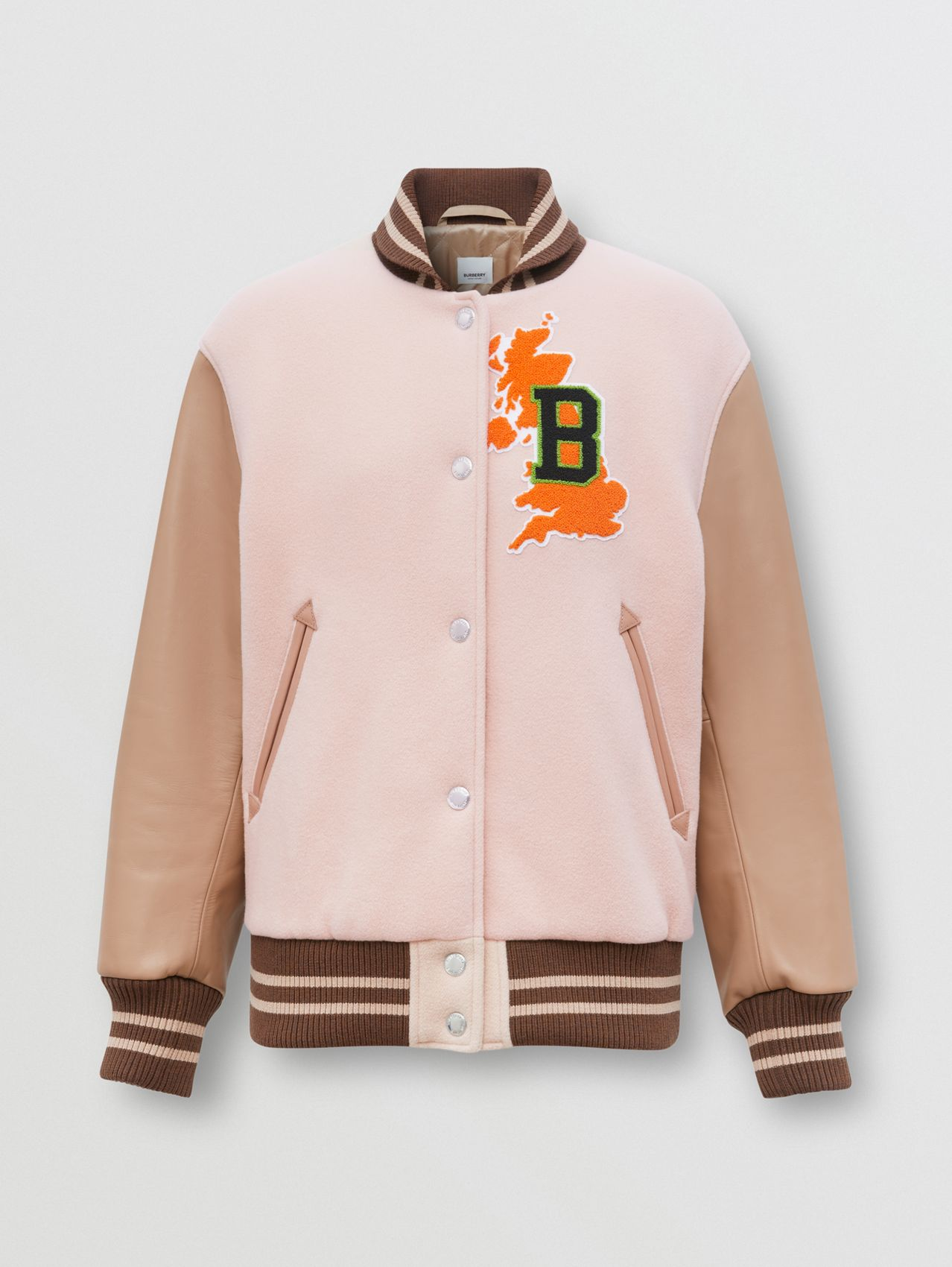 Varsity Graphic Wool and Leather Bomber Jacket in Rose Pink