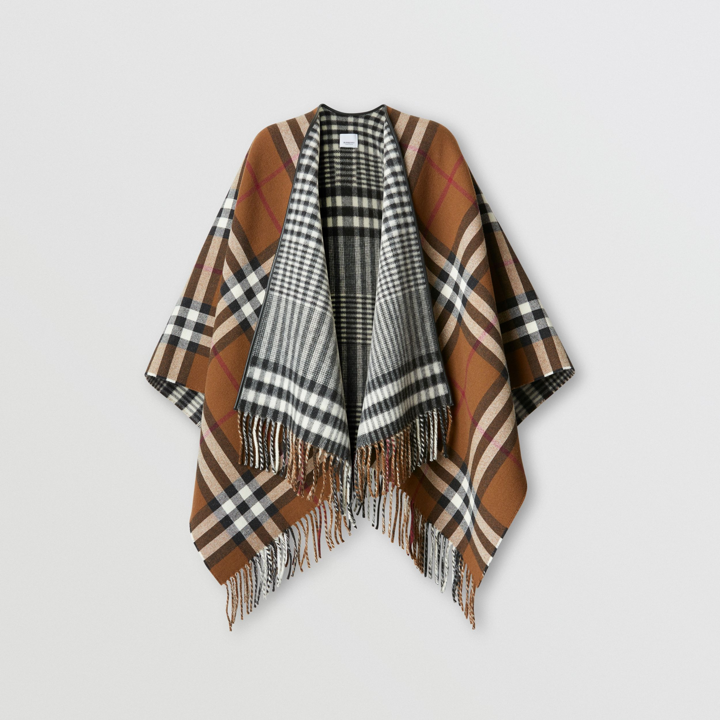 Reversible Lambskin Trim Check Wool Cape in Birch Brown | Burberry - 4