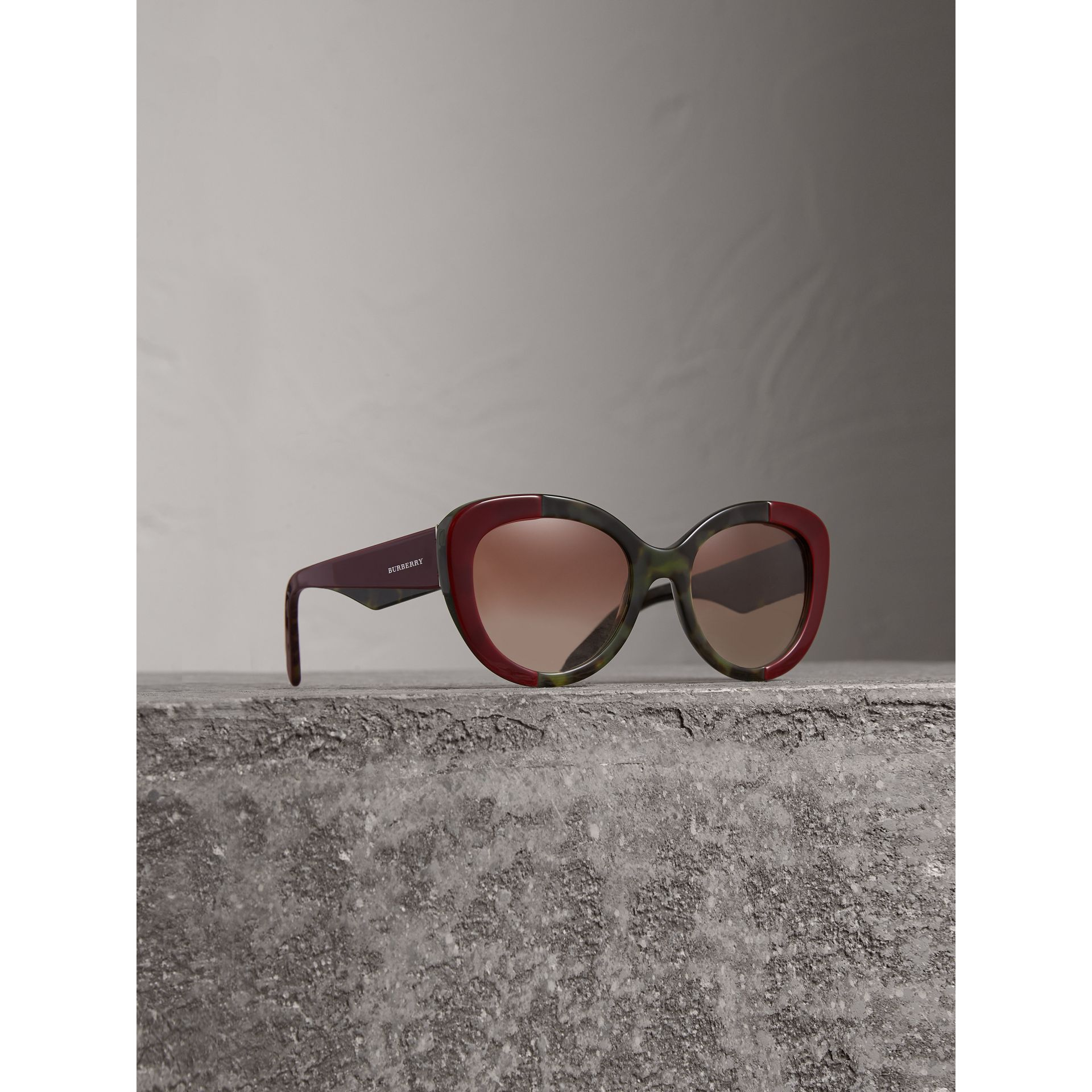 Round Frame Sunglasses in Burgundy - Women | Burberry - gallery image 1