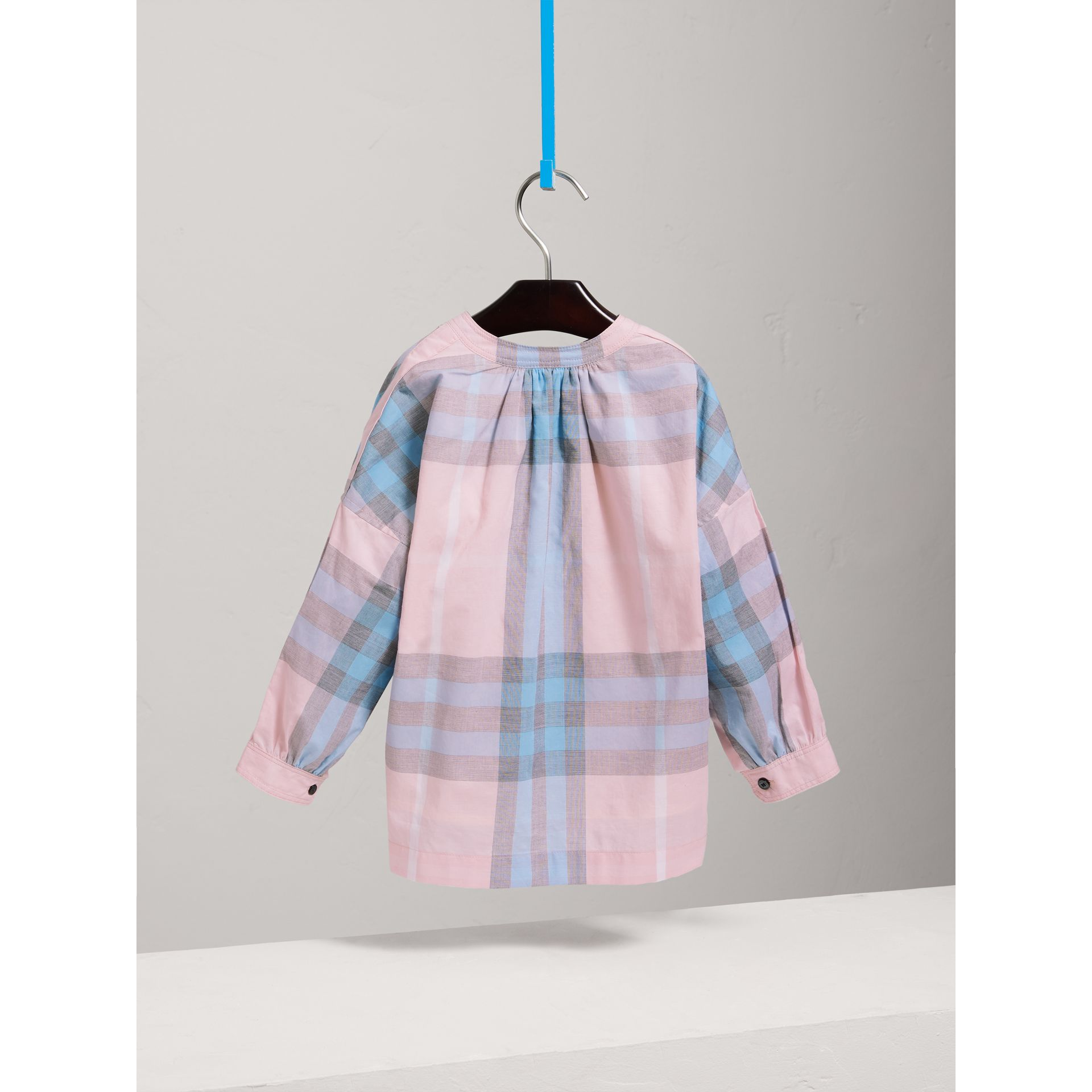 Gathered Check Cotton Shirt in Ice Pink - Girl | Burberry - gallery image 3