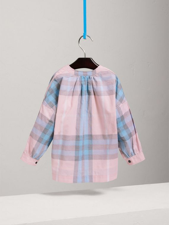 Gathered Check Cotton Shirt in Ice Pink - Girl | Burberry - cell image 3