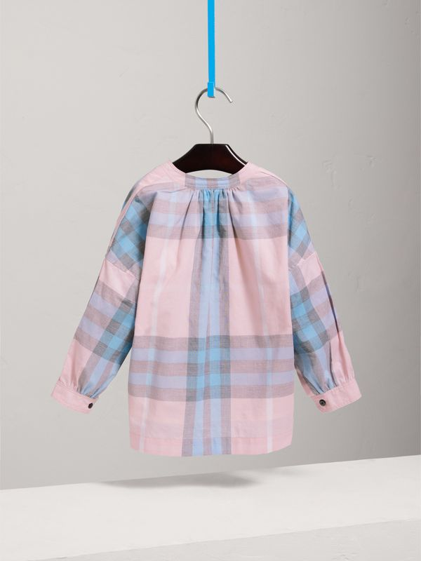 Gathered Check Cotton Shirt in Ice Pink - Children | Burberry - cell image 3