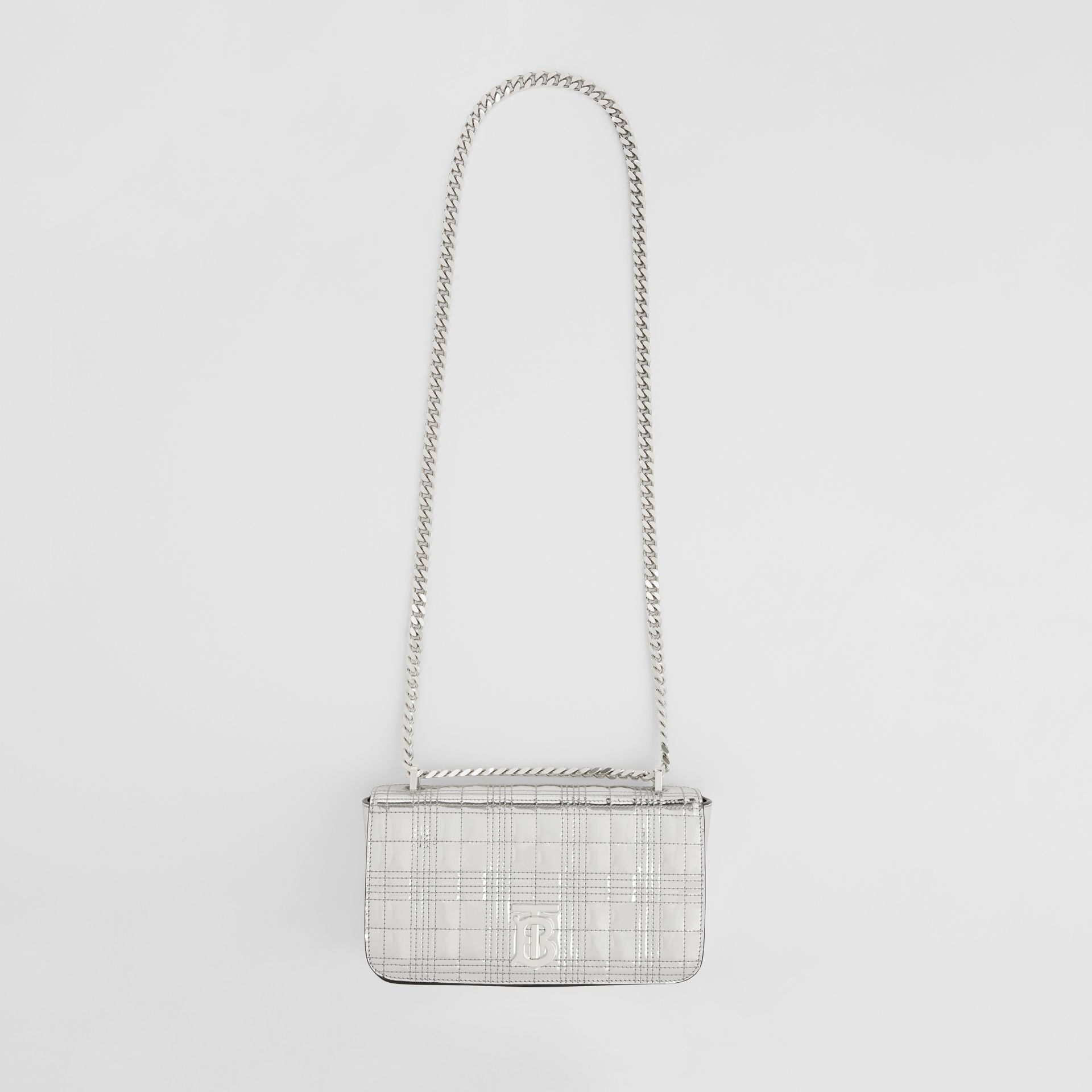 Small Quilted Metallic Leather Lola Bag in Silver - Women | Burberry United Kingdom - gallery image 2