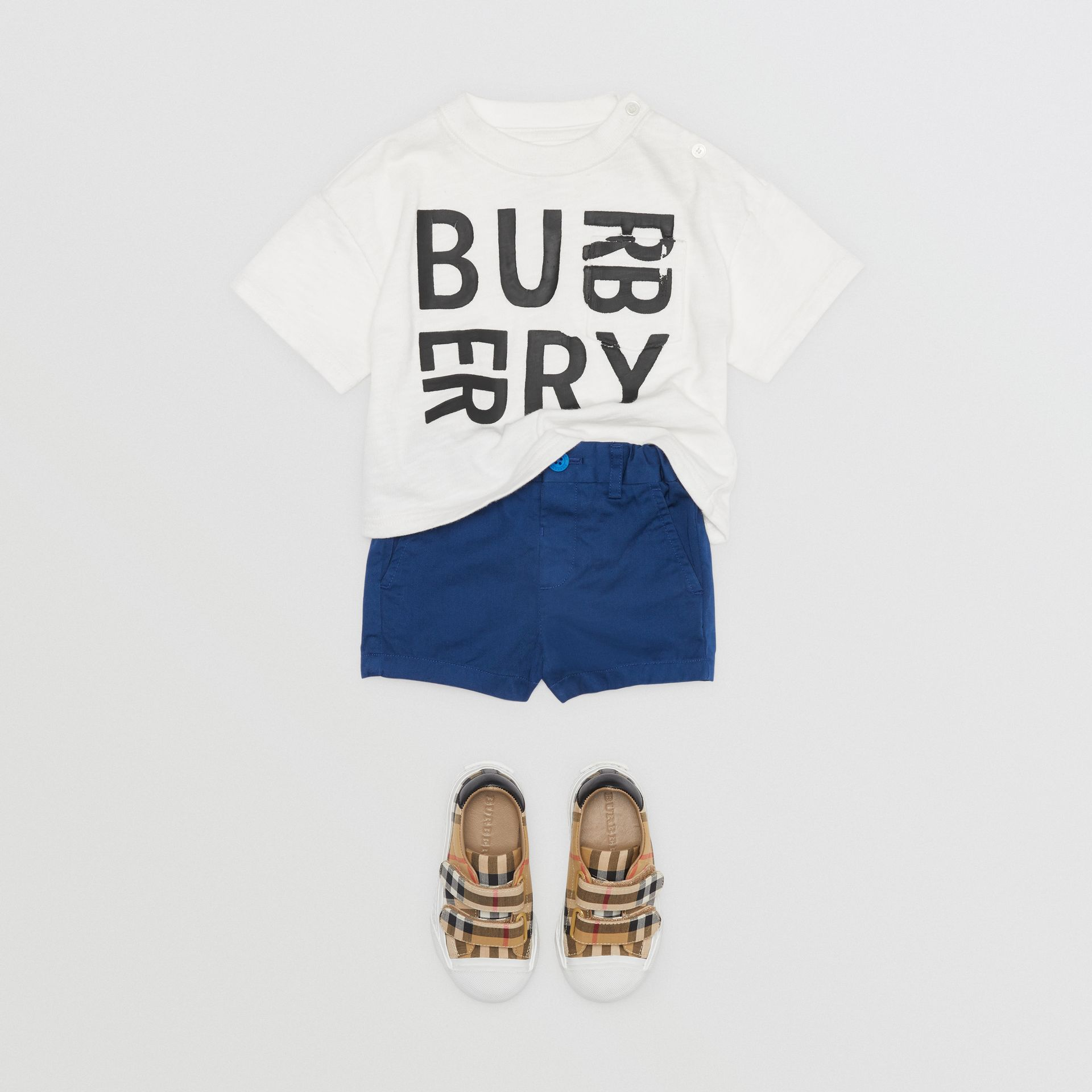 Cotton Chino Shorts in Bright Navy - Children | Burberry Australia - gallery image 2