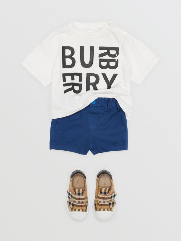 Cotton Chino Shorts in Bright Navy - Children | Burberry Australia - cell image 2