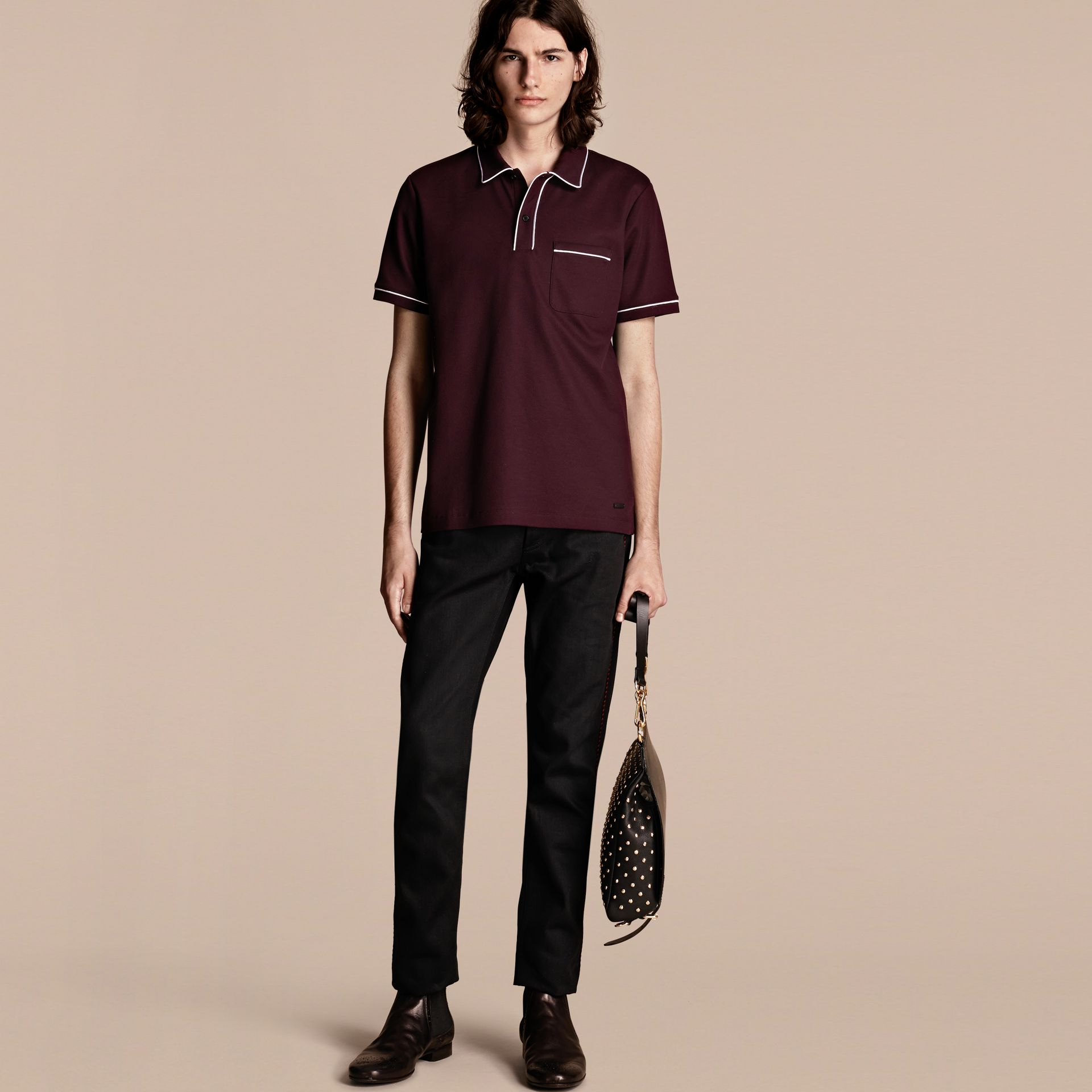 Burgundy Piped Cotton Piqué Polo Shirt Burgundy - gallery image 6