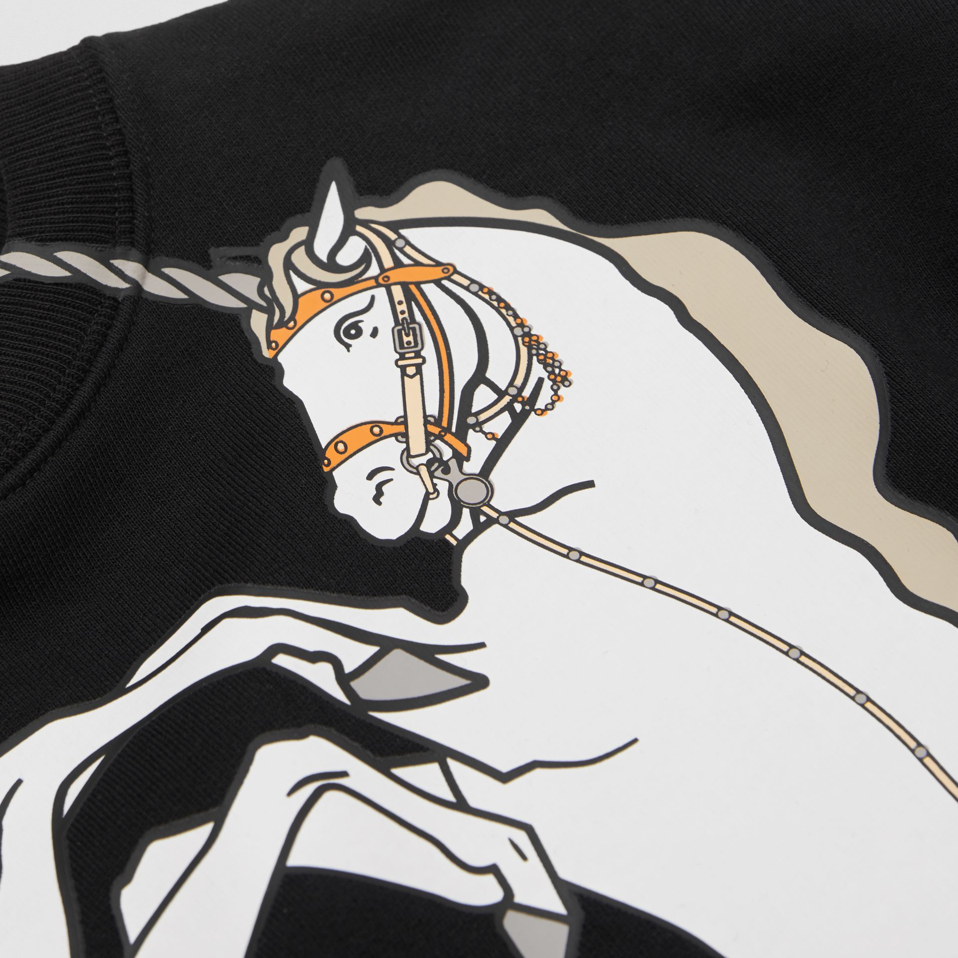 Unicorn Print Cotton Jersey Sweatshirt in Black | Burberry - gallery image 1