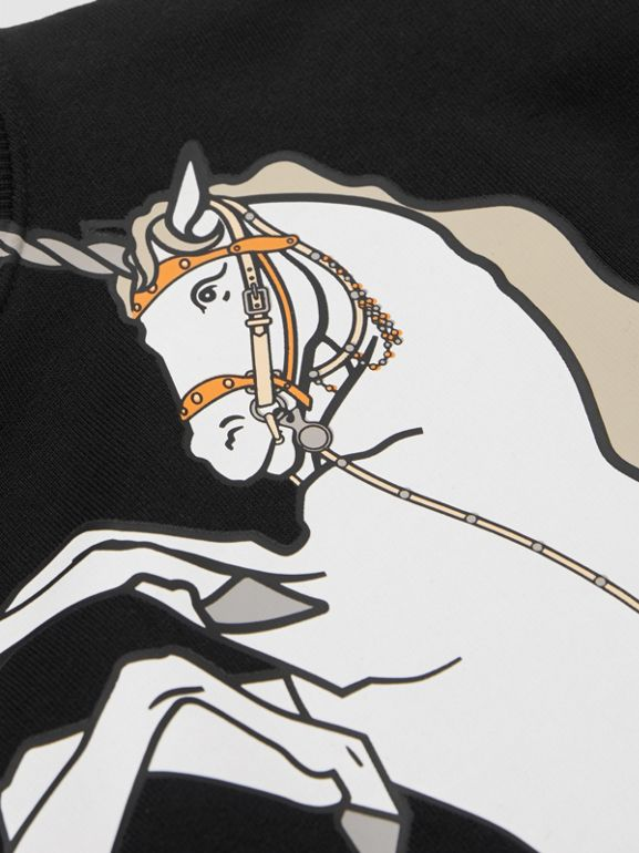 Unicorn Print Cotton Jersey Sweatshirt in Black | Burberry - cell image 1