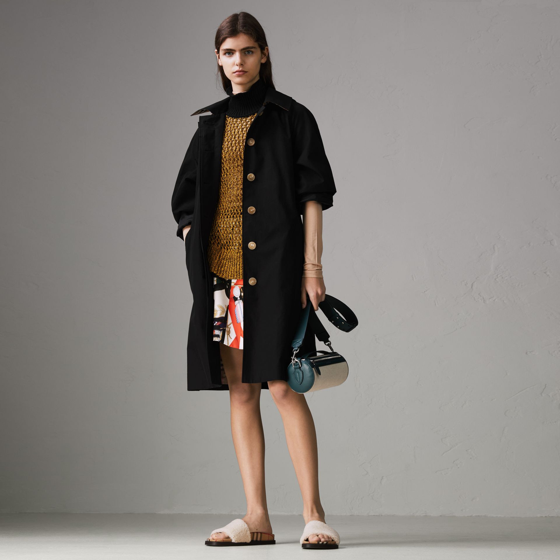Detachable Hood Tropical Gabardine Car Coat in Black - Women | Burberry - gallery image 0