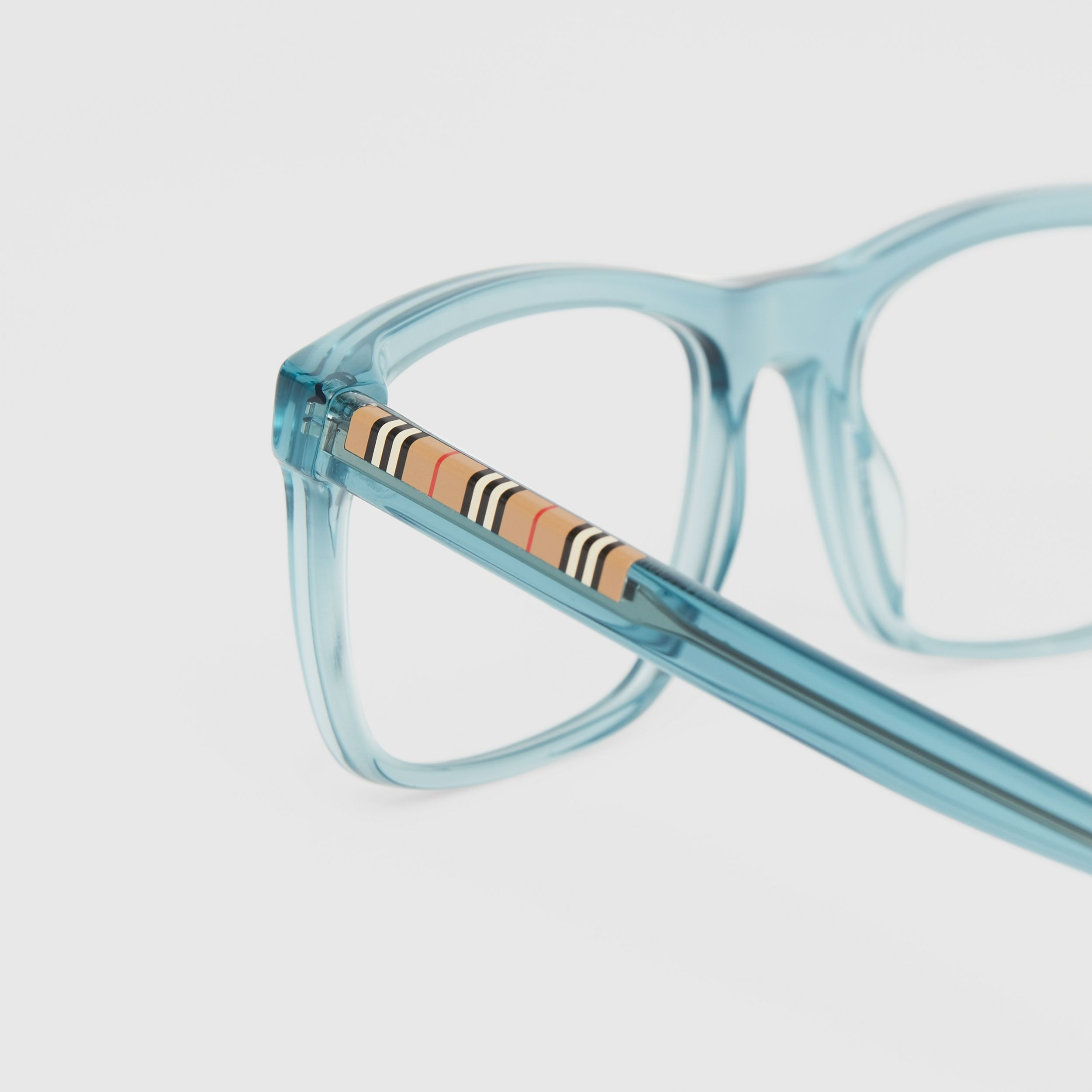 Icon Stripe Detail Rectangular Optical Frames in Petrol Blue - Men | Burberry - 2