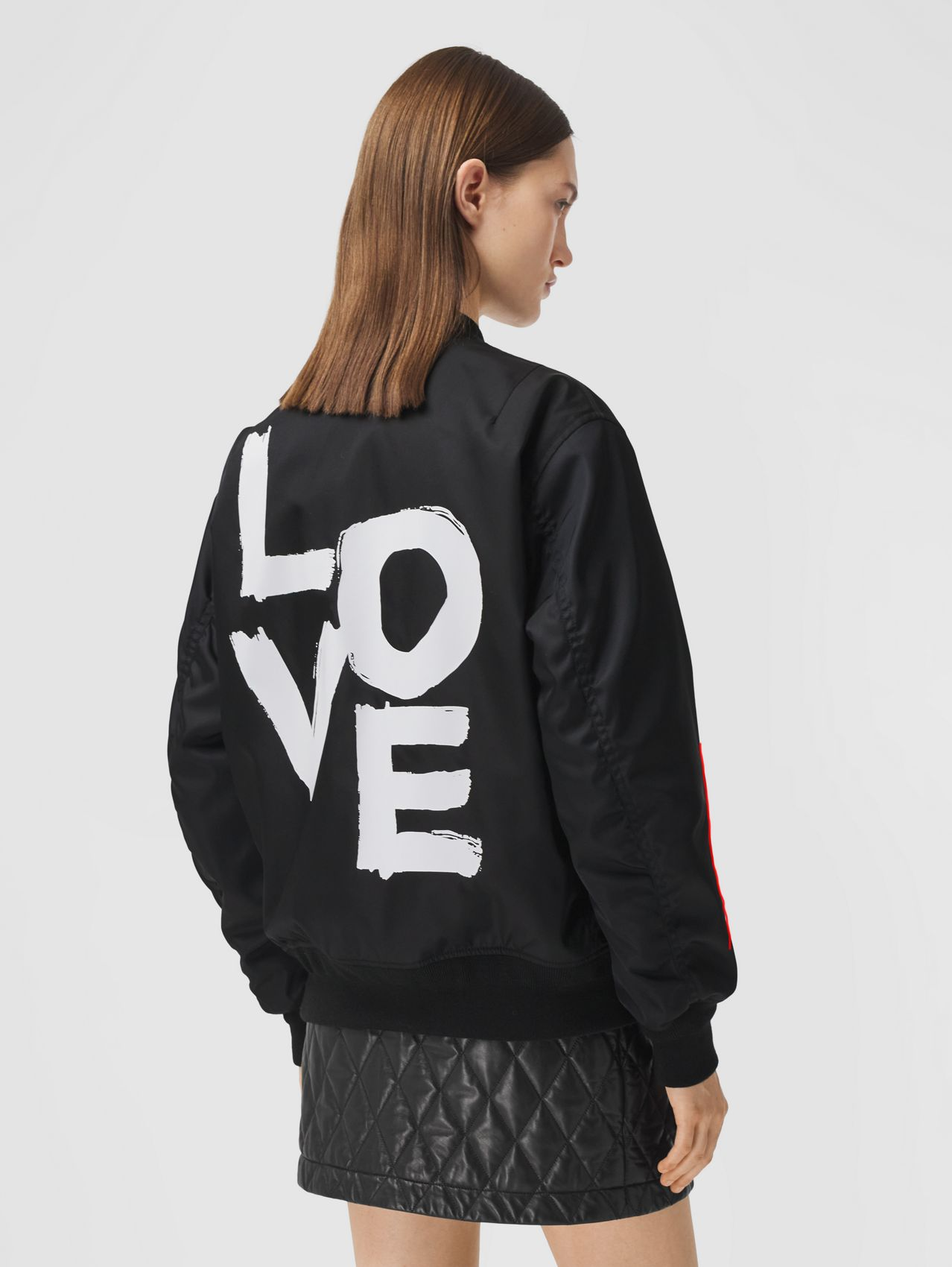 Love Print ECONYL® Bomber Jacket in Black