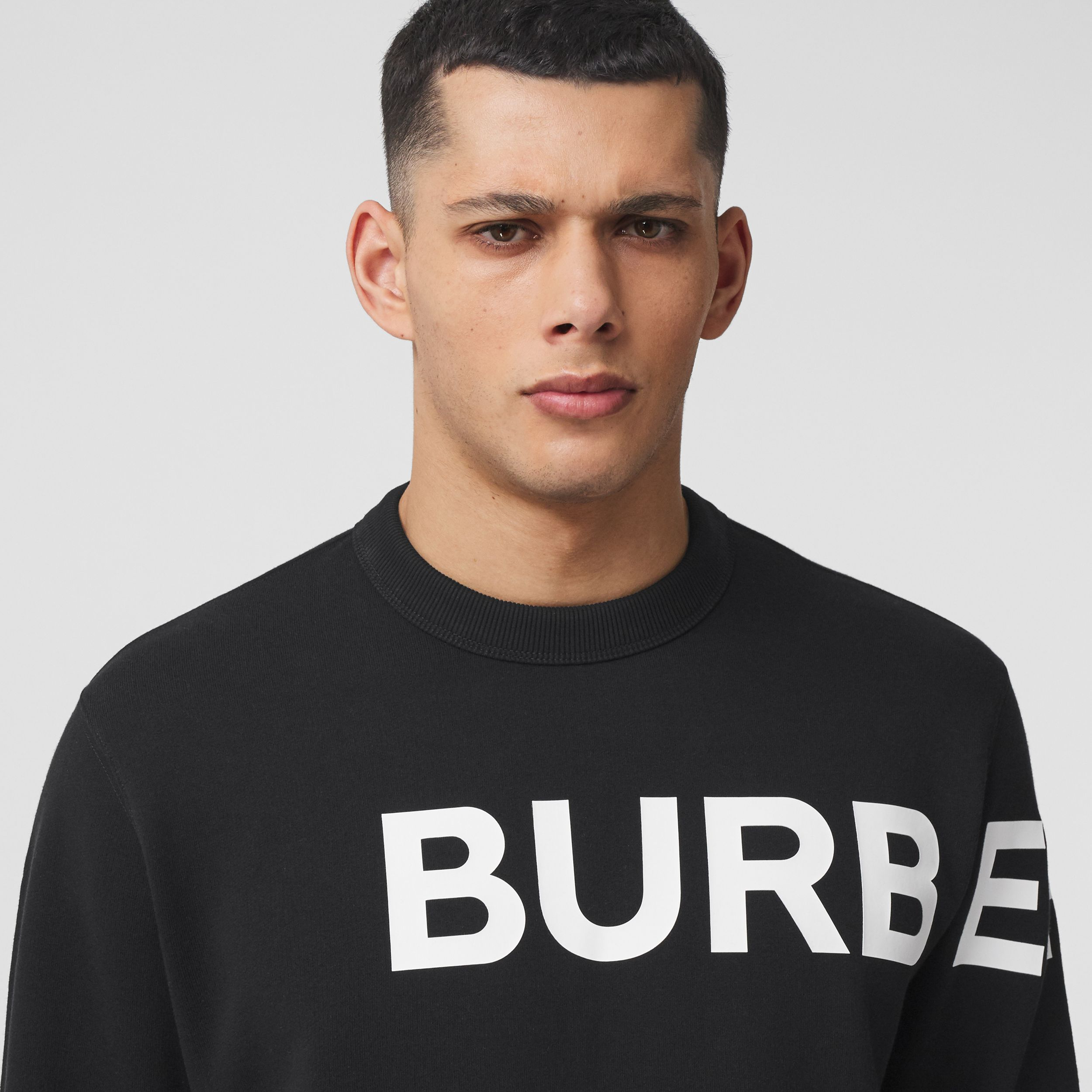 Horseferry Print Cotton Sweatshirt in Black - Men | Burberry - 2