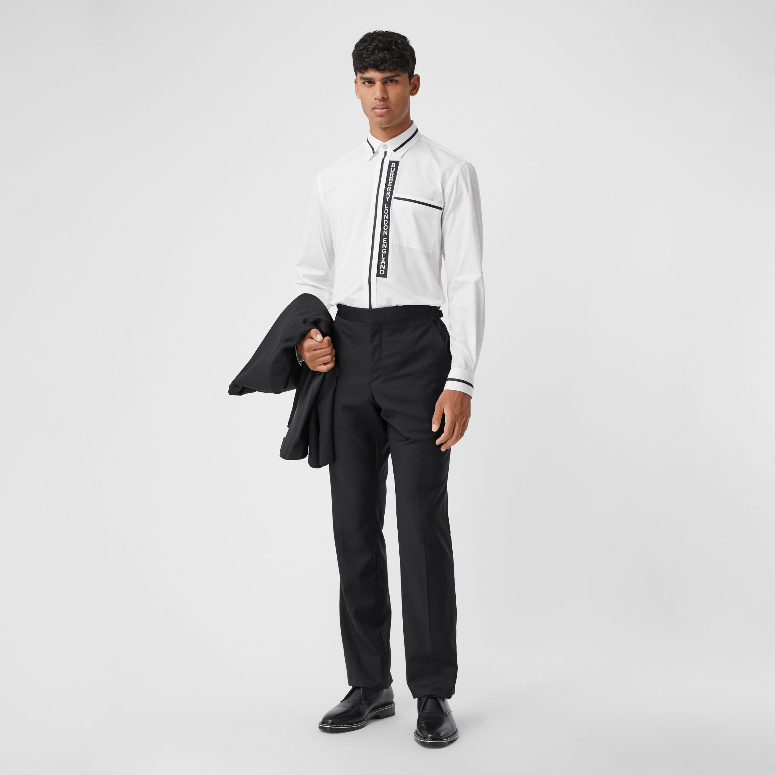 Logo Appliqué Cotton Poplin Shirt in Optic White - Men | Burberry - 1